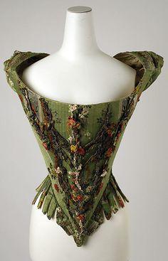 Bodice. European. silk, metal threads. 18th century.
