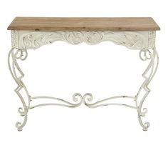 Distressed white metal console table. Natural wood table top.