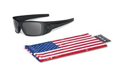 2e5879e5161547 Oakley  Fuel Cell Sunglasses, Matte Black Grey, Greyed US Flag Icon