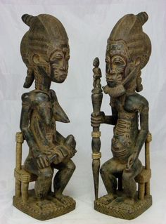 Superb,African Art,Baule Couple w/Baby,Antique,Collectible,Baule,African Art