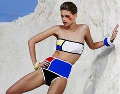Mondrian Swimwear Collection by Sarah Schofield, inspired by the art of Dutch painter Piet Mondrian. via Sarah Kunst & Adam Without Eve Piet Mondrian, Arte Fashion, Ideias Fashion, Australian Fashion Designers, Look Vintage, Foto Pose, Fashion History, Passion For Fashion, Beachwear