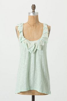 Beautiful tank in light green with cute ruffles at the neckline.  Passerine Tank - Anthropologie.com