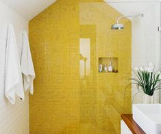 Light bathroom interior with white and yellow tile combination Bathroom How to bring yellow into your home - interior inspiration Bad Inspiration, Bathroom Inspiration, Interior Inspiration, Bathroom Ideas, Bathroom Meme, Bathroom Vanities, Ensuite Bathrooms, Bathroom Plants, Small Bathrooms