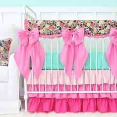 Project Nursery - tinsleys-boho-floral-w-crib-bows