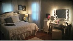 My Pintrest Inspired Hollywood Glam Bedroom.  Kitty loves it!