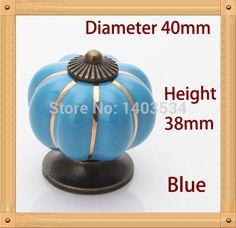 Pumpkin ceramic knob Blue color Single Hole knob Zinc alloy Kitchen Furniture knob drawer knob #Affiliate