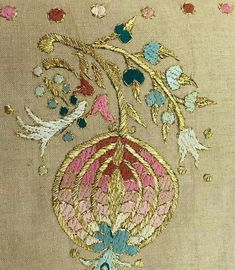 This Pin was discovered by EMI Rose Embroidery, Hand Embroidery Designs, Embroidery Stitches, Embroidery Patterns, Cross Stitch Patterns, Turkish Art, Turkish Style, Gold Work, Wool Applique