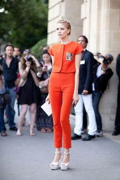 Orange Pant Suit and White Celine Shoes at Couture 2012 - Paris Couture Street Style Photos - Harper's BAZAAR