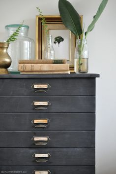 Paint technique for revamping furniture with chalkboard paint. Beautiful faux zinc finish.
