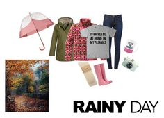 """Pink Hunter Boots on a Rainy Day"" by elsander ❤ liked on Polyvore featuring Seasalt, Hunter, Kate Spade, Frame Denim and Patagonia"