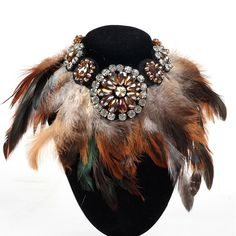 New Fashion Necklace Women Precious Crystal And Feather Necklaces & Pendant Soft Glam Peacock Feather Statement Necklaces