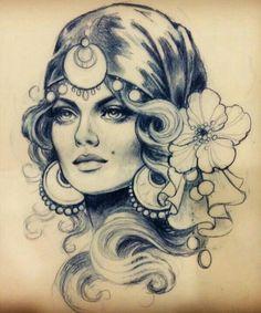 Grey And Black Gypsy Girl Tattoo : Gypsy Tattoos Tattoo Girls, Gypsy Girl Tattoos, Gypsy Girls, Gypsy Women, Tattoo Gitana, Trendy Tattoos, Cool Tattoos, Gypsy Drawing, Gypsy Tattoo Sleeve