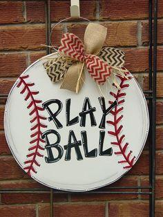 "Large 20"" Baseball or Softball Wood Door Hanger Wall Decor Sign Angelenes Collection"