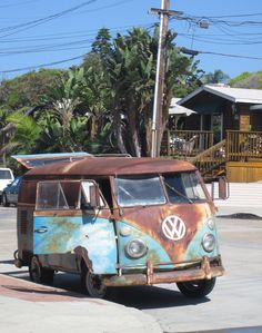rusted out volkswagon bus at wind n sea