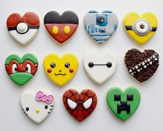 Valentine heart decorated character cookies - Pokemon, Minecraft, Hello Kitty, Baymax, Spiderman, Tmnt,  Star wars, yxe, Minion, Mickey Mouse  #vdaycookies / Jessica Edwards