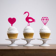 Set Of Three Party Cupcake Decorations | Show off your stand-out style with our bright and bold wedding styling - perfect for the couple that love a pop of colour (or two).