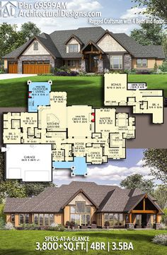 Architectural Designs House Plan 69599AM gives you 4 beds, 3.5 baths and over 3,800 square feet of heated living space. Ready when you are. Where do YOU want to build? #69599AM #adhouseplans #architecturaldesigns #houseplan #architecture #newhome #newconstruction #newhouse #homedesign #dreamhome #dreamhouse #homeplan #architecture #architect #craftsman #mountain