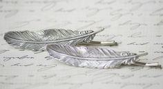 silver feather hair pins