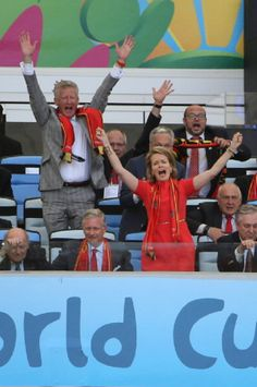 King Philippe of Belgium and Queen Mathilde of Belgium celebrate the victory of Belgium at the end of the 2014 FIFA World Cup Brazil Group H match between Belgium and Russia at Maracana, 22.06.2014 in Rio de Janeiro, Brazil.