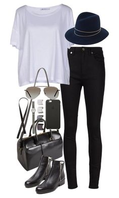 """Inspired outfit for shopping"" by whathayleywore ❤ liked on Polyvore featuring Yves Saint Laurent, T By Alexander Wang, Luv Aj, Janessa Leone, 3.1 Phillip Lim, Tom Ford, Black Apple, J.Crew and H&M"