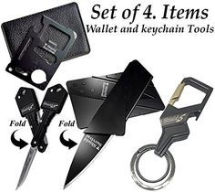 Gifts for Men Gadgets Set of 4 Card Size Multitool Key Knife Credit Card Knife and Bottle Opener Keychain ** Be sure to check out this awesome product.-It is an affiliate link to Amazon.