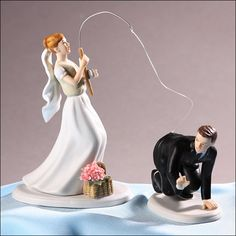 Silk Wedding Flowers & Wedding Accessories: Wedding Cake Topper - Fishing Couple - Caucasian, Wedding Cake Toppers, 219-7105-7106