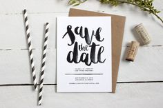 Watercolor Save the Date • Hand-lettered Modern Design by TheOystersPearl #stylemepretty #savethedate