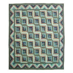 Found it at Wayfair - Green Log Cabin Quilt