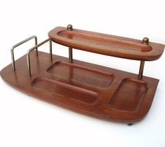 Vintage Mens Valet Wood Stand Wooden Caddy Jewelry Organizer 2