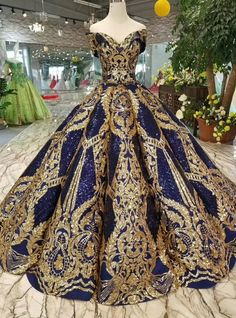 Royal Blue Sequins Gold Appliques Off The Shoulder Floor Length Wedding Dress - Kleider - Gold wedding gowns Blue Ball Gowns, Ball Dresses, Evening Dresses, Prom Dresses, Wedding Dresses, Royal Ball Gowns, Royal Blue Gown, Azul Royal, Royal Dresses