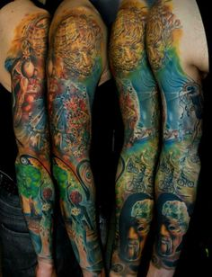 Kyle Cotterman, USA. #Tattoo #sleeve #colortattoo #tatuaż #rękaw #sztuka