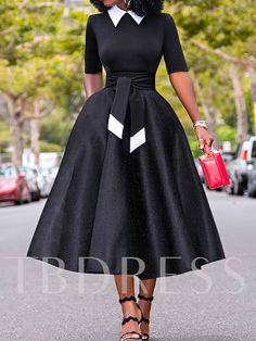 Hollow Bowknot Stand Collar Half Sleeve Women's Maxi Dress - African fashion Mode Outfits, Chic Outfits, Dress Outfits, Maxi Dresses, Summer Dresses, Girly Outfits, Blue Dresses, Airport Outfits, Punk Outfits