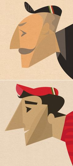 """""""Our friend and artist Riccardo Guasco just sent us some samples of his latest work titled, """"The Dream Team"""" of cyclists. Beautifully captured characters, and you have to love that mustache. See more of the illustrations here in Riccardo' s gallery, and you can contact Riccardo at guasco.riccardo@gmail.com"""""""