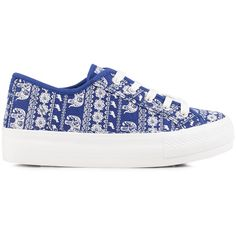 New Look Melly Elephant Double Sole ($43) ❤ liked on Polyvore featuring shoes, trainers, blue, everyday shoes, womens-fashion, round cap, elephant print shoes, round toe shoes, patterned shoes and new look shoes