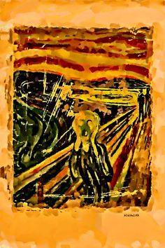 "Saatchi Art Artist ACQUA LUNA; Painting, ""112- Primer plano. Homenaje al grito de Munch."" #art"