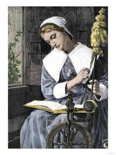 Young Puritan Woman Reading While Spinning at her Wheel