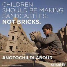"""unicef: """"The good news: the number of child labourers has fallen by a third since The bad news: 168 million boys and girls are still losing their childhoods by being forced to toil all day in. We Are The World, Change The World, In This World, Good News, World Days, Stress, Forced Labor, Save The Children, Adult Children"""