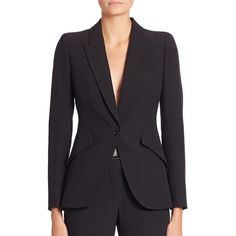 Alexander McQueen Women's Solid One-Button Blazer (3,815 BAM) ❤ liked on Polyvore featuring outerwear, jackets, blazers, apparel & accessories, black, single button blazer, long sleeve blazer, blazer jacket, alexander mcqueen blazer and one-button blazer