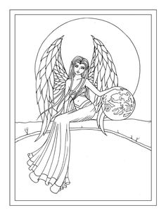 earth guardian angel free coloring page by molly harrison - Coloring Pages Dragons Fairies