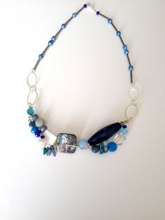 Blue and White Necklace,  Blue OOAK Wired Necklace, Ocean Blue Necklace, Blue Stones Necklace