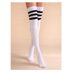 White Stripe Trim Varsity Over The Knee Socks ($6.99) ❤ liked on Polyvore featuring intimates, hosiery, socks, over the knee socks, above knee socks, overknee socks, over the knee hosiery and over knee socks