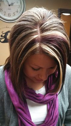Chocolate with blonde and purple highlights