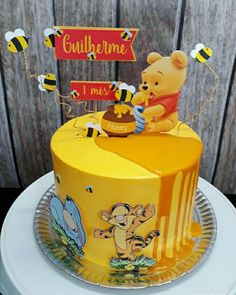 Baby Boy Birthday Cake, 25th Birthday Cakes, Birthday Cake Toppers, Winnie The Pooh Cake, Winnie The Pooh Birthday, Bolo Snoopy, Cakes For Boys, Kid Cakes, Pretty Cakes