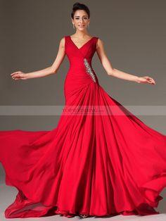 Zilpah - corte sirena escote en v vestido de noche de gasa con cuentas