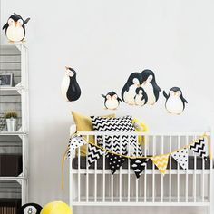Penguins at Play Fabric Wall Decals Removable and by WallDressedUp