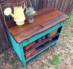 Dresser repurposed....like as a kitchen island or entryway table!  Love the colors!