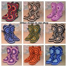 Handmade women's house wool crochet slippers/boots Any