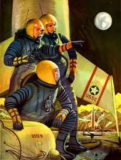 A selection of vintage Space Art by John Polgreen an American artist most prolific in the 50′s – a style akin to the work of Chesley Bonestell - difficult to believe these beautifully rendered forward thinking scenes are 50 or more years old. Perhaps then a shame that these depicted visions (simultaneous moon landings) haven't quite come true yet.