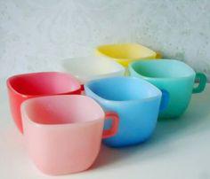 Retro Glasbake Lipton Soup Mugs - Lipton Soup Mugs - Square Glass Mugs. $72.00, via Etsy.