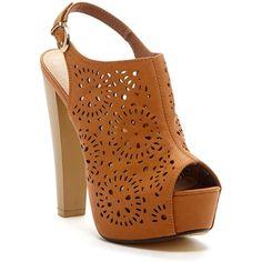 EXTREME By Eddie Marc Bella Platform Sandal (€18) ❤ liked on Polyvore featuring shoes, sandals, heels, chaussures, tan, chunky heel shoes, platform sandals, high heel sandals, slingback sandals and peep toe sandals